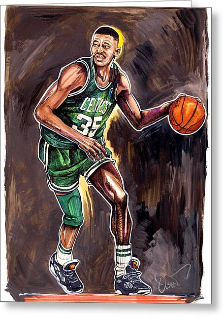 Boston Celtics Drawings Greeting Cards - Reggie Lewis Twenty Years Gone by.... Greeting Card by Dave Olsen