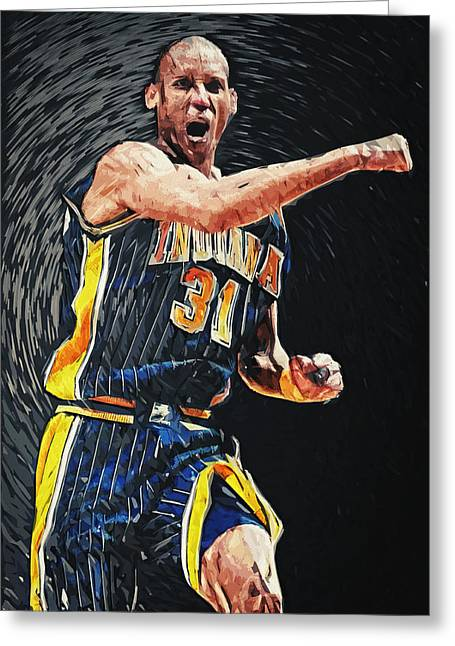 Nba All Star Game Greeting Cards - Reggie Miller Greeting Card by Taylan Soyturk
