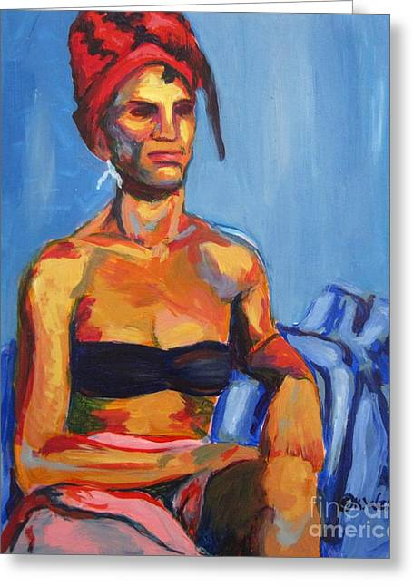 Seated Woman Greeting Card Greeting Cards - Regina in the Red Turban Greeting Card by Katrina West