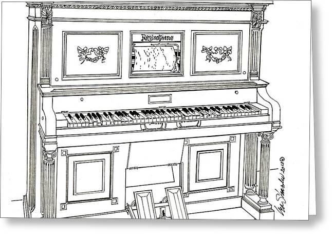 Regina Player Piano Greeting Card by Ira Shander