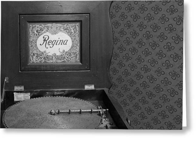 Regina Greeting Cards - Regina Record Player Black And White Greeting Card by Dan Sproul