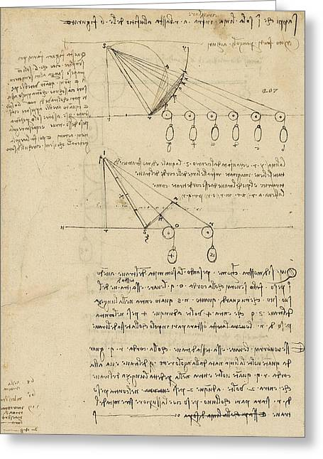 Mathematical Greeting Cards - Register of Milan Cathedral weight and study of relationship between position of beam Greeting Card by Leonardo Da Vinci