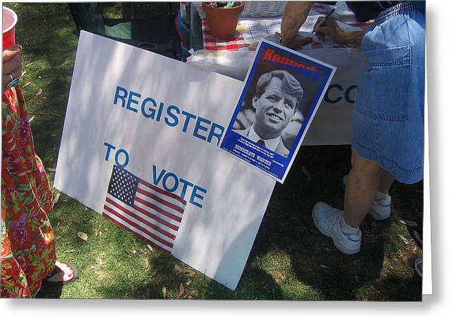 Bobby Kennedy Greeting Cards - Register to vote Bobby Kennedy poster Sylver Short hand Peart Park Casa Grande Arizona 2004 Greeting Card by David Lee Guss