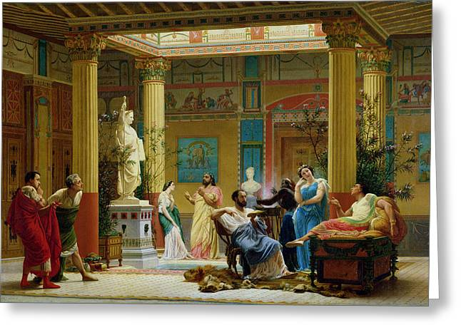 Negro Photographs Greeting Cards - Rehearsal Of The Fluteplayer And The Diomedes Wife In The Atrium Of The Pompeian House Of Prince Greeting Card by Gustave Clarence Rodolphe Boulanger