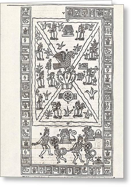 Reign Of Aztec Ruler Tenoch Greeting Card by Middle Temple Library