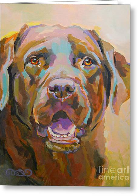 Chocolate Lab Greeting Cards - Reilly Greeting Card by Kimberly Santini