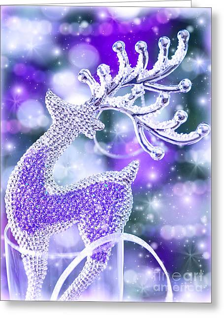 Rudolph Greeting Cards - Reindeer Christmas decoration Greeting Card by Anna Omelchenko