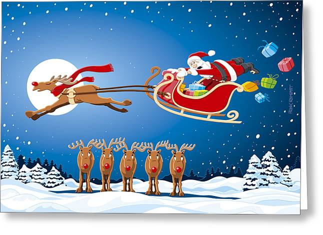 Ramspott Greeting Cards - Reindeer Santa Sleigh Christmas Stunt Show Greeting Card by Frank Ramspott