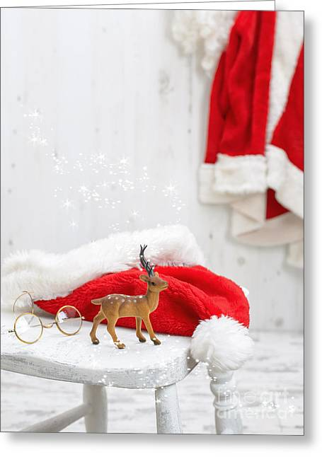 Reception Photographs Greeting Cards - Reindeer With Santa Hat Greeting Card by Amanda And Christopher Elwell