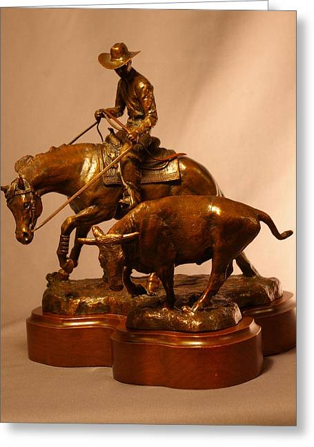 Western Western Art Sculptures Greeting Cards - Reined Cowhorse bronze Greeting Card by Kim Corpany