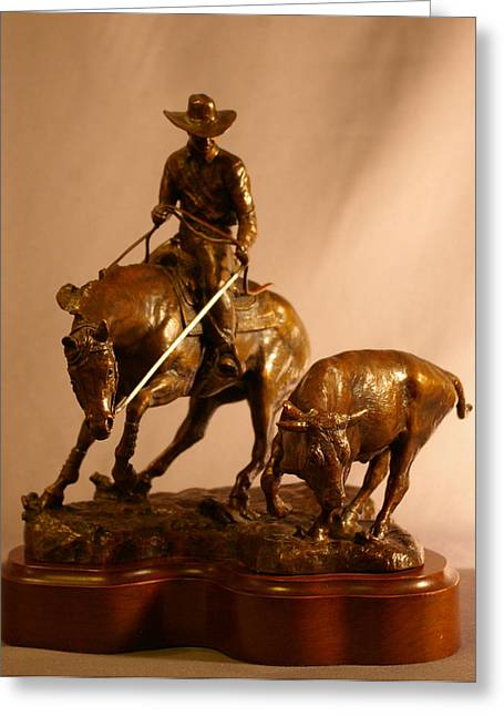 Western Western Art Sculptures Greeting Cards - Reined Cowhorse Bronze Sculpture Greeting Card by Kim Corpany
