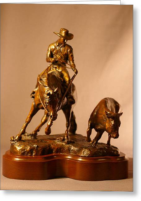 Steer Sculptures Greeting Cards - Reined Cowhorse bronze sculpture titled TURNBACK Greeting Card by Kim Corpany