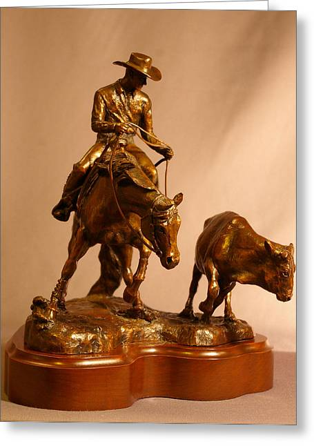 Western Western Art Sculptures Greeting Cards - Reining Cow Horse bronze sculpture Greeting Card by Kim Corpany