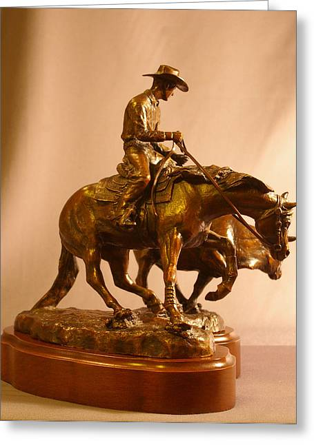 Western Western Art Sculptures Greeting Cards - Reining Cowhorse bronze Greeting Card by Kim Corpany