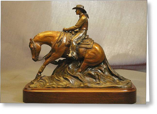 Western Western Art Sculptures Greeting Cards - Reining horse and Lady rider bronze sculpture Greeting Card by Kim Corpany