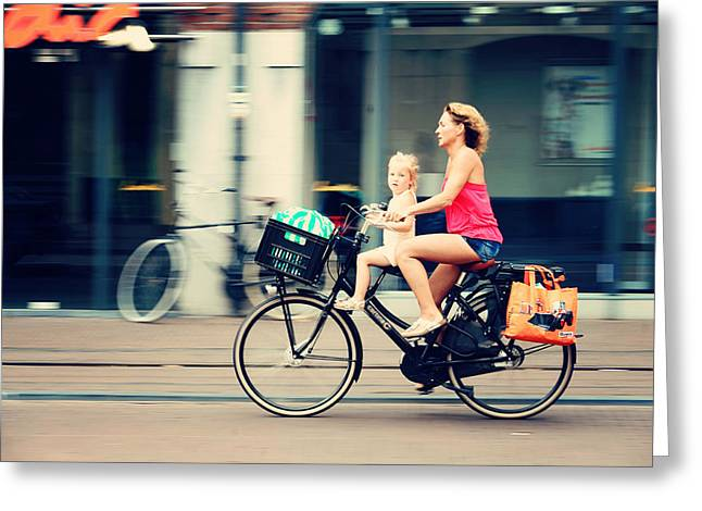 European Bicycle Shop Greeting Cards - Rejecting the Automobile. Sporty Mum and Sporty Me. Amsterdam Greeting Card by Jenny Rainbow