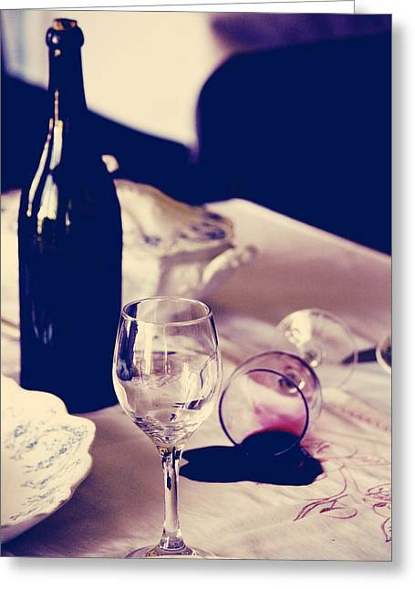 Photography Of Wine Bottles Greeting Cards - Rejection Over Dinner Greeting Card by Jerry Cordeiro
