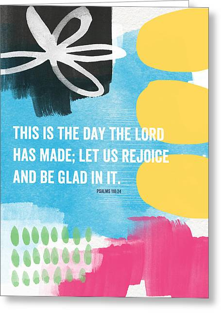 Scripture Mixed Media Greeting Cards - Rejoice and Be Glad- contemporary scripture art Greeting Card by Linda Woods