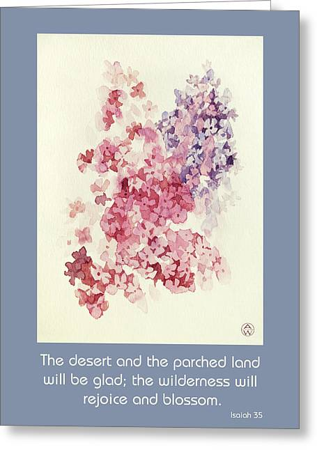 Subtle Colors Greeting Cards - Rejoice and Blossom from Isaiah 35 Greeting Card by Art In The Word