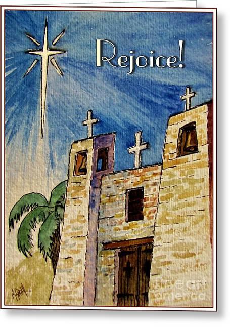 Star Of Bethlehem Greeting Cards - Rejoice Greeting Card by Marilyn Smith