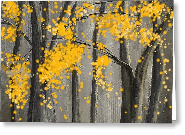 Yellow And Gray Abstract Greeting Cards - Rejuvenating Elements- Yellow And Gray Art Greeting Card by Lourry Legarde