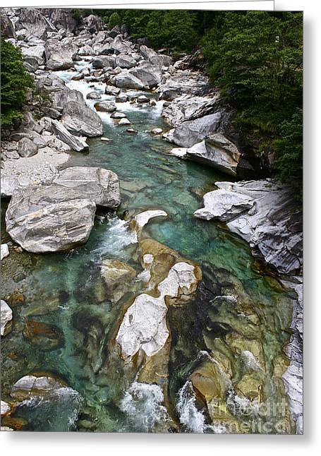 Ticino Canton Greeting Cards - Rejuvenation at Valle Verzasca Greeting Card by Heidi Peschel