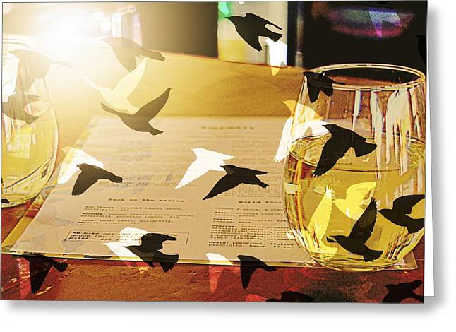 Table Wine Greeting Cards - Relax and Let Your Troubles Fly Away Greeting Card by Kathy Barney