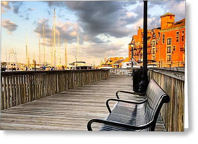 Relax And Watch The Sunset in Boston Greeting Card by Mark Tisdale