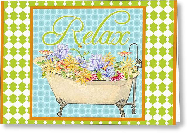 Unwind Digital Greeting Cards - Relax-Floral Bath Art Greeting Card by Jean Plout