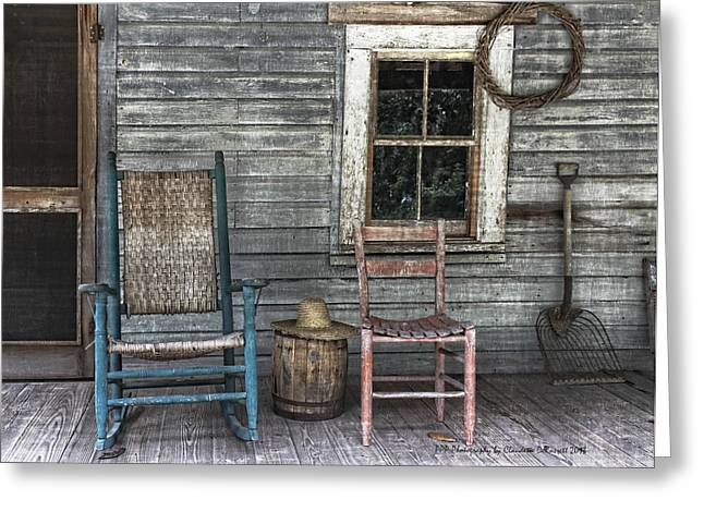 Screen Doors Digital Art Greeting Cards - Relax on the Front Porch Greeting Card by Claudette DeRossett