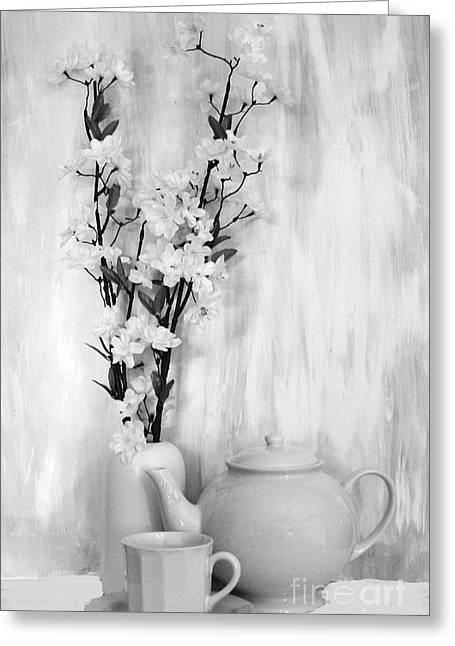 Tiny Whites Greeting Cards - Relax with Tea Greeting Card by Marsha Heiken