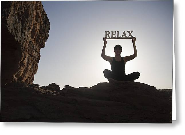 Zen-like Greeting Cards - Relax with yoga Greeting Card by Mesha Zelkovich