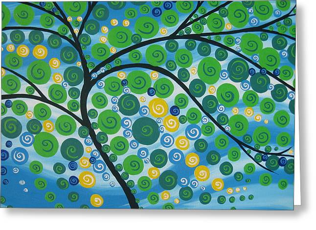 Cushion Paintings Greeting Cards - Relaxation Tree Greeting Card by Cathy Jacobs