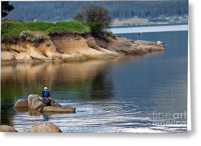 Haybales Greeting Cards - Relaxed Fisherman Greeting Card by Robert Bales