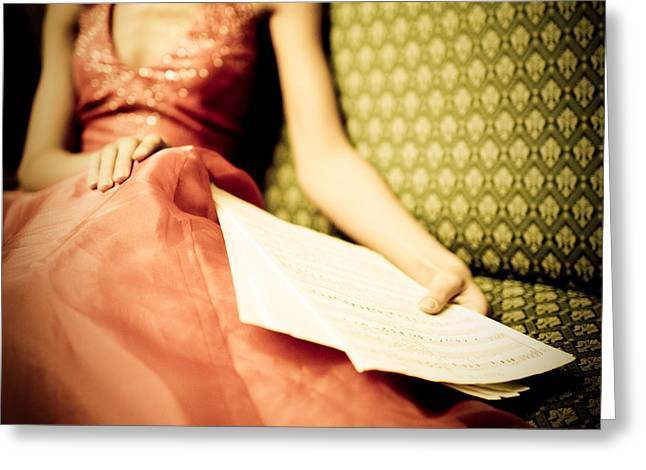 Women Only Greeting Cards - Relaxed Woman with music notes in hand Greeting Card by Anna Bryukhanova