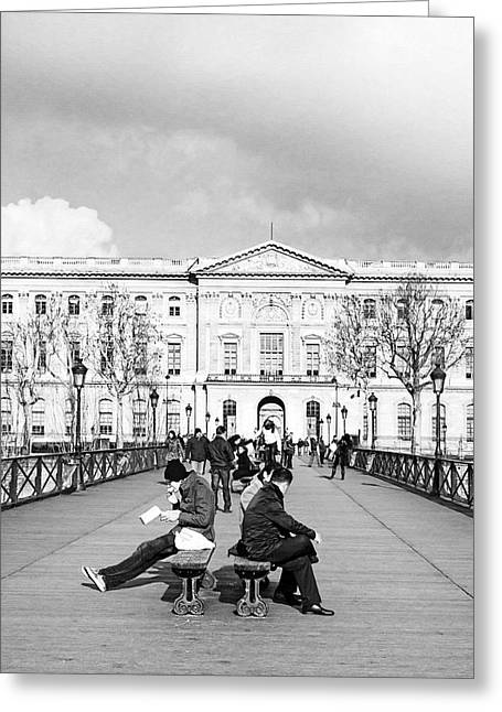 Al Fresco Greeting Cards - Relaxing Afternoon On The Pont Des Arts In Paris Greeting Card by Mark Tisdale