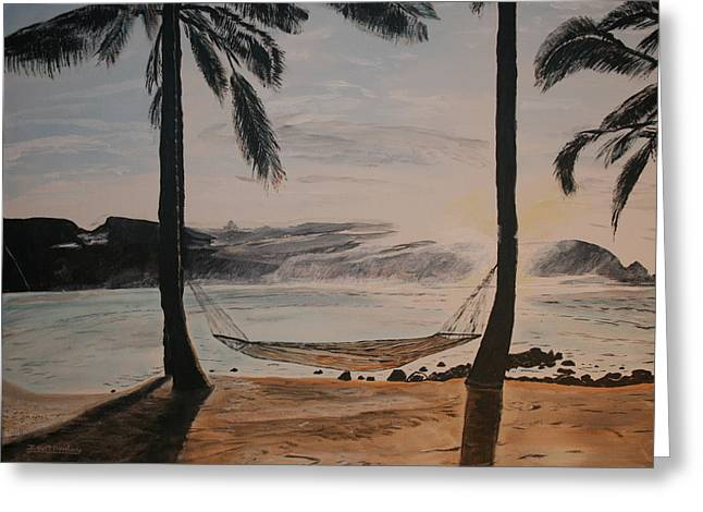 Unwind Paintings Greeting Cards - Relaxing at the Beach Greeting Card by Ian Donley