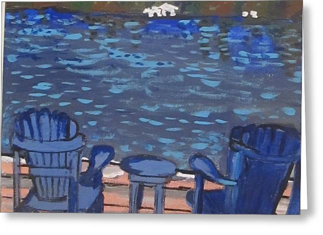 Lounge Paintings Greeting Cards - Relaxing at the Lake Greeting Card by Jennylynd James