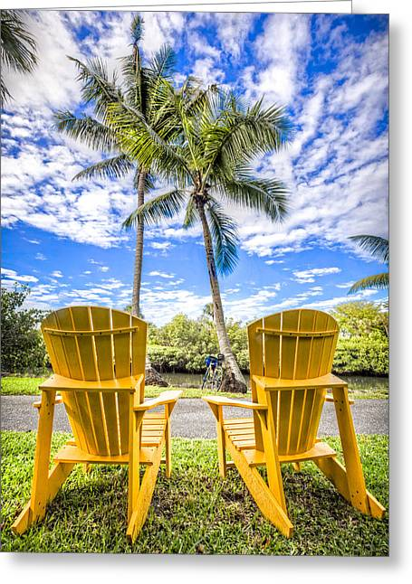 Lounge Photographs Greeting Cards - Relaxing at the Park Greeting Card by Debra and Dave Vanderlaan