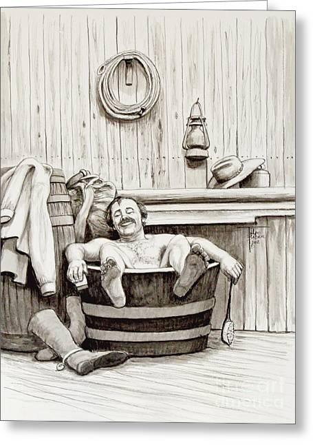 Old Barn Drawing Greeting Cards - Relaxing Bath - 1890s Greeting Card by Art By - Ti   Tolpo Bader