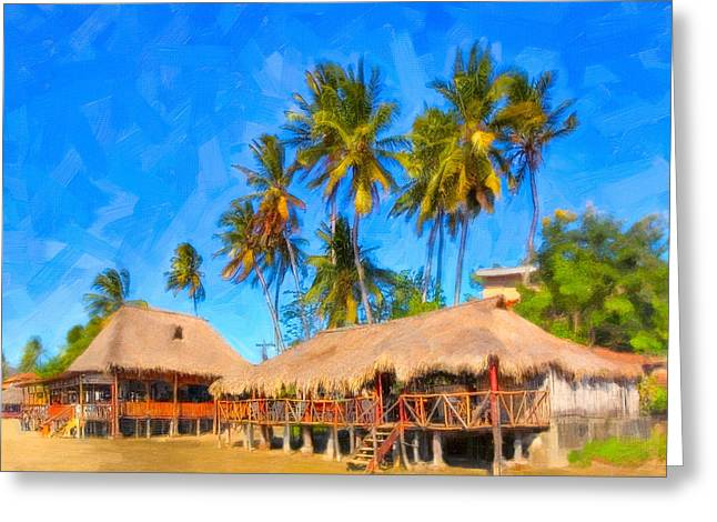 Tropical Beach Greeting Cards - Relaxing Beneath Palm Trees On A Tropical Beach - Nicaragua Greeting Card by Mark Tisdale