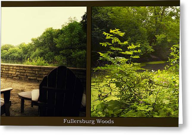 Nature Center Pond Greeting Cards - Relaxing By The River Bridge Fullersburg Woods 2 Panel Greeting Card by Thomas Woolworth