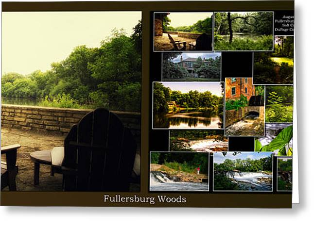 Nature Center Pond Greeting Cards - Relaxing By The River Collage Fullersburg Woods 2 Panel Greeting Card by Thomas Woolworth