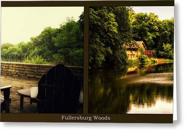 Nature Center Pond Greeting Cards - Relaxing By The River Nature Center Fullersburg Woods 2 Panel Greeting Card by Thomas Woolworth