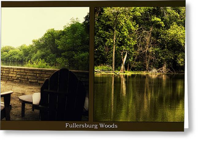 Nature Center Pond Greeting Cards - Relaxing By The River Salt Creek In August Fullersburg Woods 2 Panel Greeting Card by Thomas Woolworth