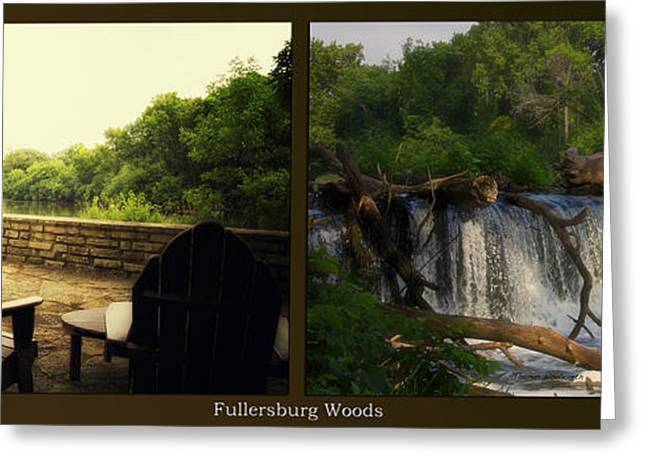 Nature Center Pond Greeting Cards - Relaxing By The River Teeter Totter Log Fullersburg Woods 2 Panel Greeting Card by Thomas Woolworth