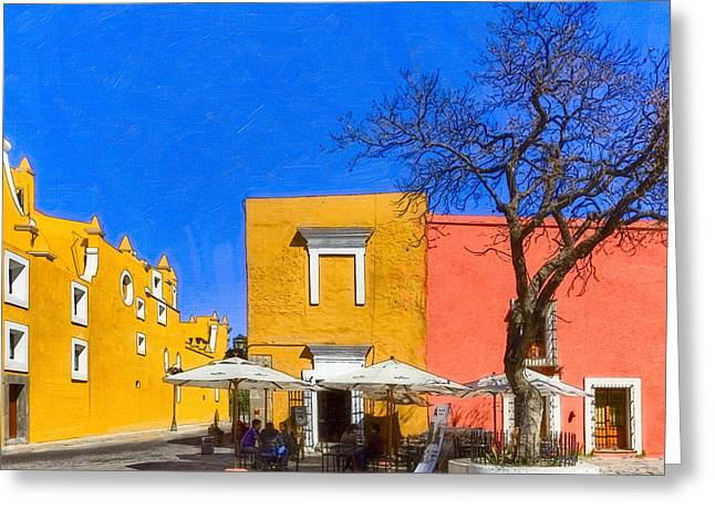 Al Fresco Greeting Cards - Relaxing in Colorful Puebla Greeting Card by Mark Tisdale