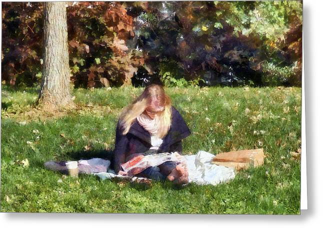 Relaxing In The Park Greeting Card by Susan Savad