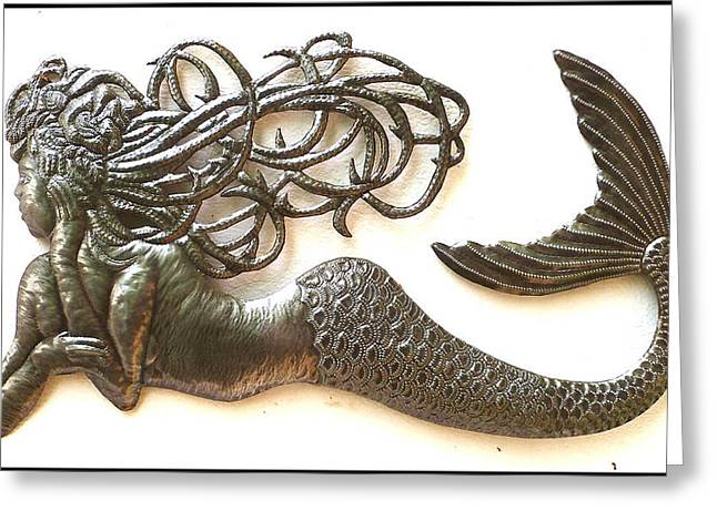 Mermaids Sculptures Greeting Cards - Relaxing Mermaid Greeting Card by Elius