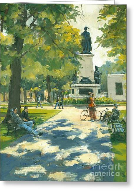 Park Benches Greeting Cards - Relaxing Greeting Card by Michael Swanson